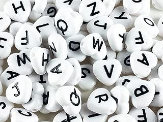 ノーブランド品 アルファベット ビーズ ハート形 100個 ホワイト 11mm 大きめ ハート (AP0186)