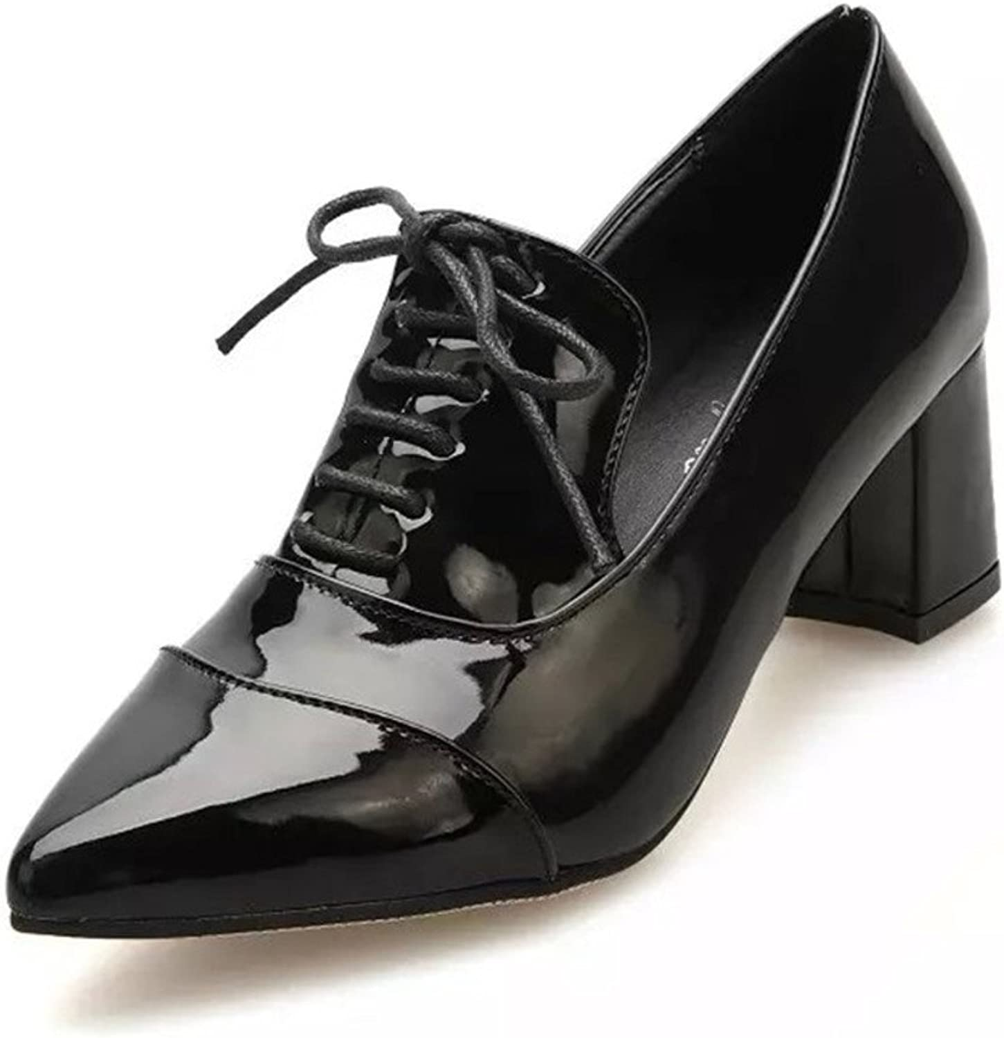 Spring patent leather chunky heels womens shoes Lace high heel shoes