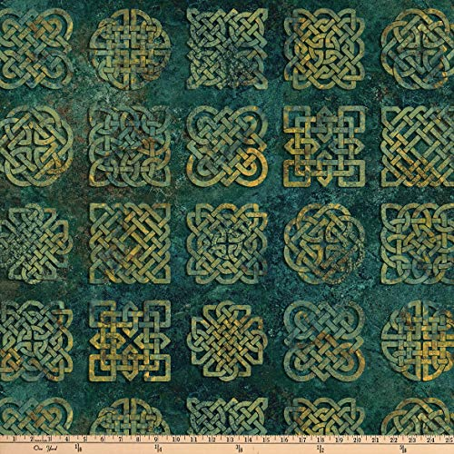 Northcott Stonehenge Solstice Celtic Knot Blocks Teal Quilt Fabric