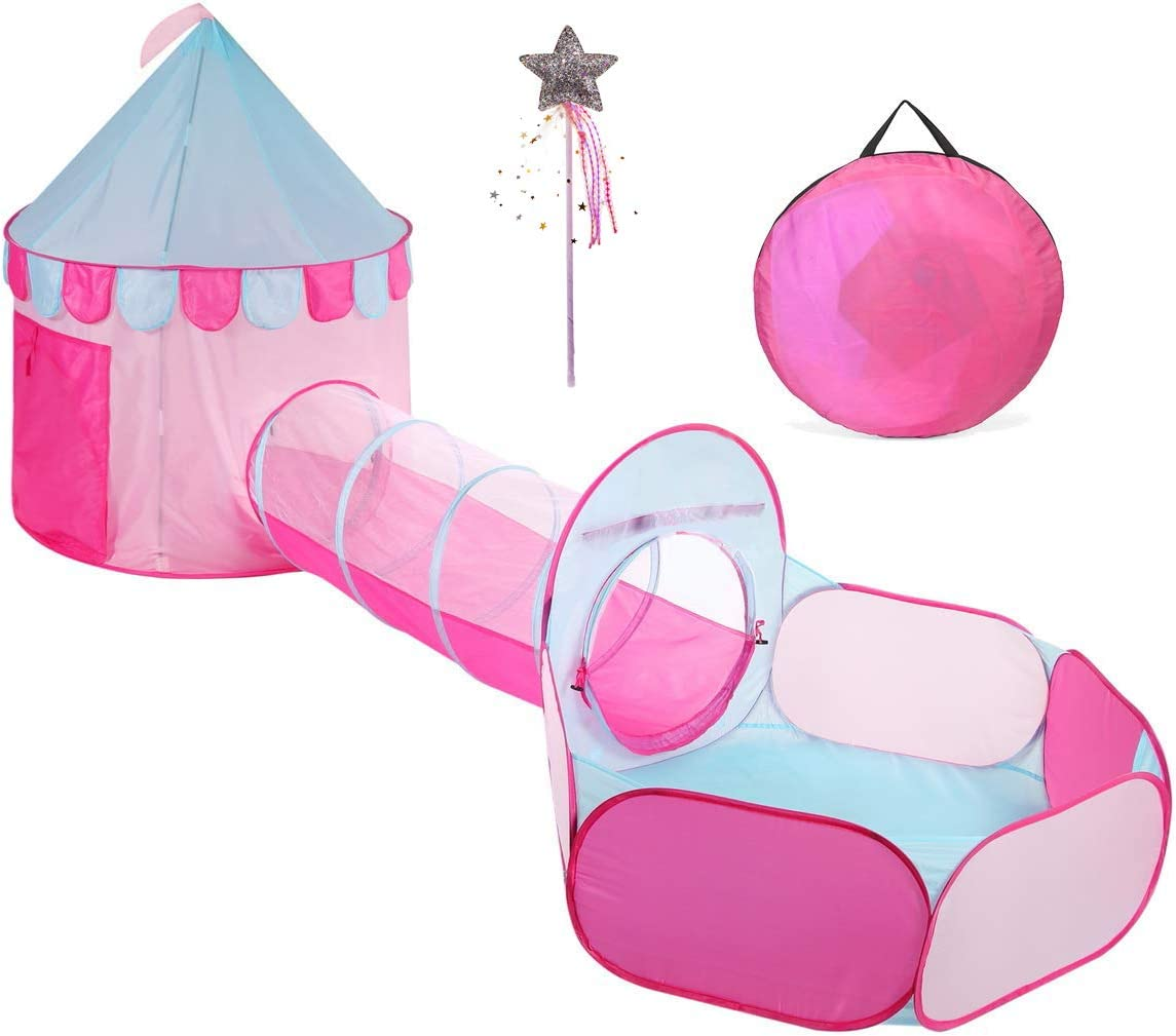 Truedays Princess Castle Pink Play Tent Ki Tunnel for Be super welcome Grils with Rapid rise