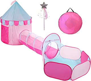 TRUEDAYS Princess Castle Pink Play Tent with Tunnel for Grils Kids Playhouse Ball Pit Indoor Outdoor
