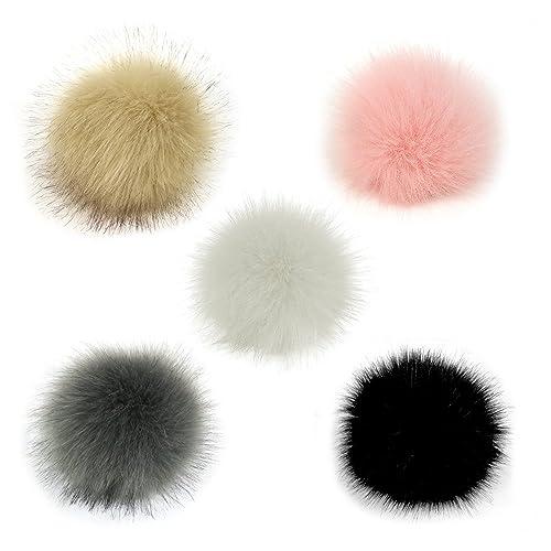 a85efc846c4 Gosear 5 Pcs Faux Fur Pom Poms for Hats - 10cm Faux Fur Fluffy Pom Pom