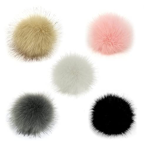 c002592e160 Gosear 5 Pcs Faux Fur Pom Poms for Hats - 10cm Faux Fur Fluffy Pom Pom