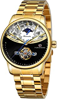 FORSINING 339 Tourbillon Moon Phase Wind-up Movement Mechanical Men Watch Luxury Business Skelenton Male Watch 3ATM Waterproof Wristwatch for Men with Stainless Steel Strap Band