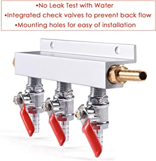 3-Way Gas Manifold CO2 Distributor Manifold 5/16 inch Barb/Stem Splitter Beer Integrated Check Valves Homebrew Beer Making Brewing Tool
