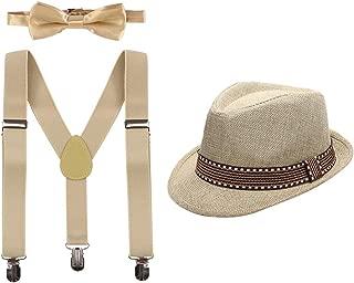 Boys Girls Adjustable Y-Back Elastic Suspenders Pre-Tied Bow Tie set Short Brim Fedora Gangster Hat Wedding Cosplay Costume