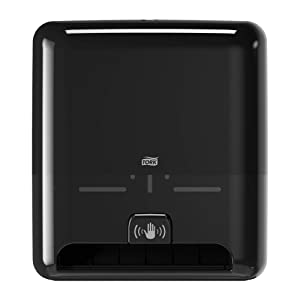 Tork Matic Hand Towel Roll Dispenser with Intuition Sensor 5511282, Elevation Design - Paper Hand Towel Dispenser H1, Non-Contact One-At-A-Time Dispensing, Black