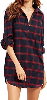 Dubocu Women's Tops Plaid Long Sleeve Tops Casual Check Shirt