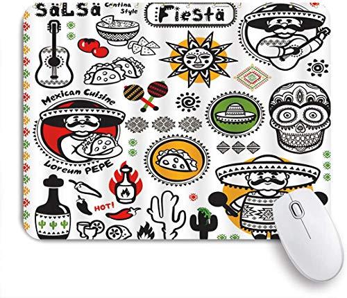 Benutzerdefiniertes Büro Mauspad,Mexikanische Latino-Kultur Dead Sugar Skull Head Poncho Küche Salsa Fiesta Artwork,Anti-slip Rubber Base Gaming Mouse Pad Mat