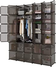 LANGRIA 30-Cube Storage Organizer Large Brown DIY Stackable Easy Assemble Plastic Steel Frame Decorative Modular Clutter-Free Closet Yarn Stash Wardrobe for Homes, Living Rooms, and Gardens