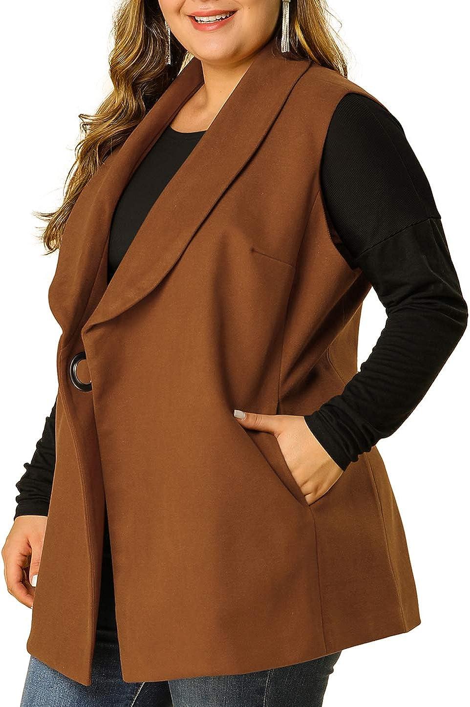 Agnes Orinda Women's Plus Size Jacket Open Front Belted Vests Notch Lapel Work Casual Vest