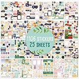 Aesthetic Greenery Planner Stickers - 1100+ Stunning Gold Foil Design Accessories Enhance and Simplify Your Planner, Journal and Calendar
