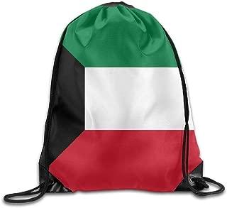 Flag Of Kuwait Cute Gym Drawstring Bags Travel Backpack Tote School Rucksack