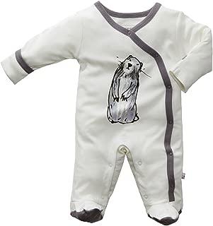 Babysoy Janey Baby Footed Pajamas - Organic Kimono Sleeper (0-3 Months, Marmot)