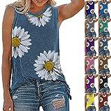 Camiseta Mujer Dulce Estampado Floral Sin Mangas Blusa Cuello Redondo Vacaciones Verano Temperamento Citas Casual Elegante Sexy Mujer Camiseta Sin Mangas Mujer Blusa A-Lake Blue M
