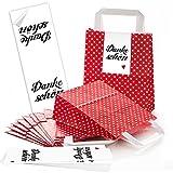 10 kleine rote Papiertüten Henkel + Boden + 10 schwarz weiße DANKE-SCHÖN Aufkleber - Verpackung...