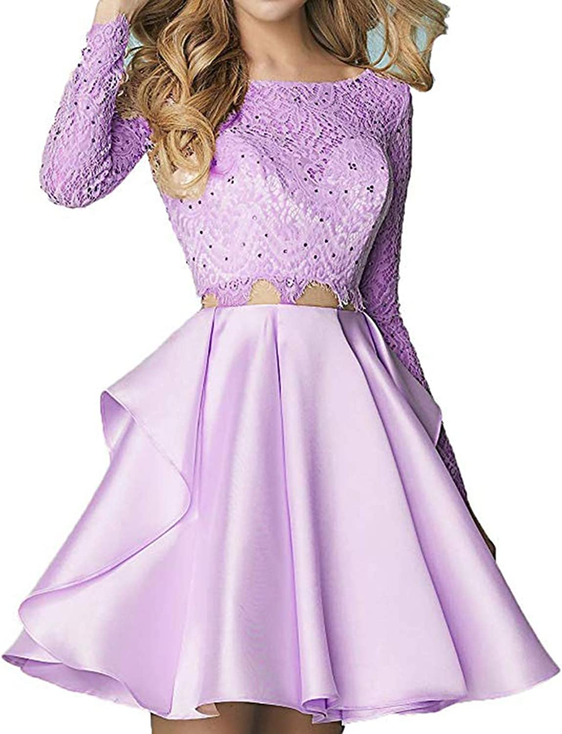 Ri Yun Two Piece Homecoming Dresses Short Long Sleeve Lace 2018 Beaded Prom Dresses Formal Evening Ball Gowns