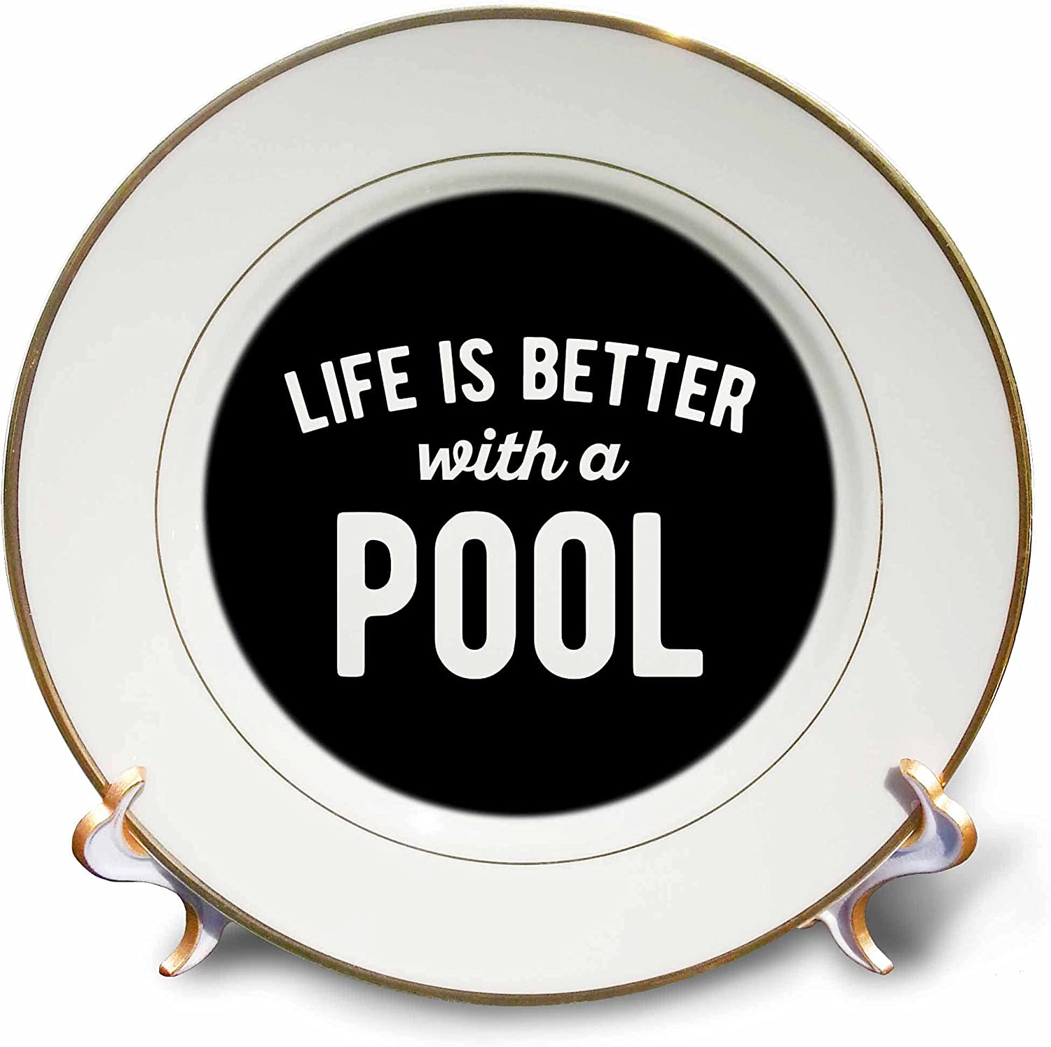 3dRose Life New products, world's highest quality popular! is Better with a on Back Lettering White Over item handling Black Pool.