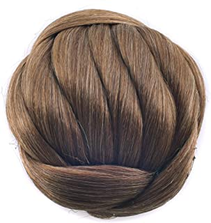 Synthetic Hair Chignon Bun Donut Straight Updo Braided Hairpieces Scrunchie Clip in Hair Bun Wedding Extensions 6Colors avilable (#2009 Light Brown)