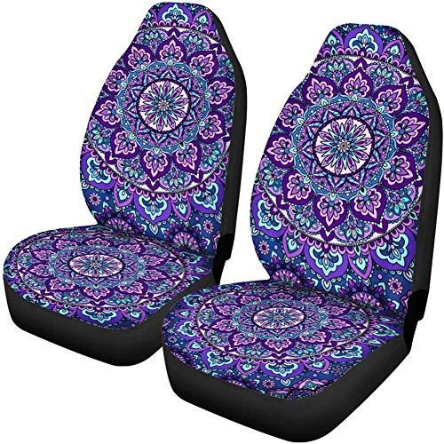 INSTANTARTS 2 PCS Mandala Car Seat Covers Boho Lotus Print Front Auto Seat Cover,Car Bucket Seats Protector Covers Universal fit for SUV Sedan Van (Purple)