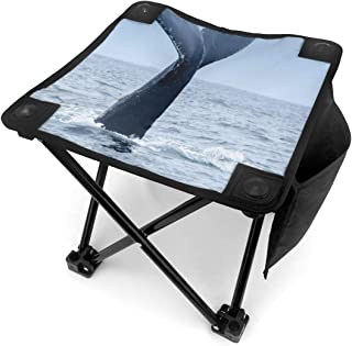 Folding Camping Stool Portable Outdoor Mini Chair Small Seat,Humpback Whale Tail in Puerto Lopez Wild Nature Nautical Photo,Barbeque Stool for Fishing BBQ Hiking Gardening and Beach,Travel