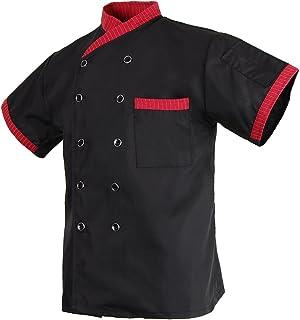 Baoblaze Comfy Women's Men's Stripe Executive Chef Apparel Jacket Short Sleeved Restaurant Hotel Waiter Uniform Clothes