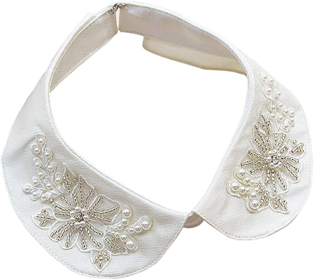 Vpang Detachable Blouse False Collar Pearl Embroidered Flower Fake Collar Choker Peter Pan Necklace