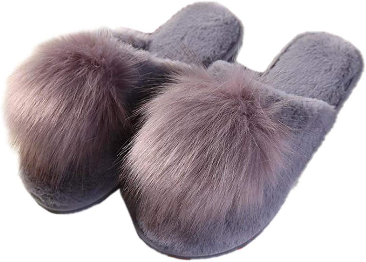 Winter Fur Slippers Soft Plush Ball Room Fluffy Flip Flops Warm Indoor Home Basic Footwear Women Bedroom Cozy shoes