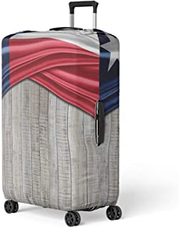 Pinbeam Luggage Cover Abstract Watercolor Marble Silk White Red Pink Orange Travel Suitcase Cover Protector Baggage Case Fits 18-22 inches