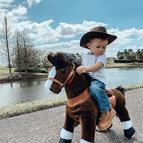 FDSAG Rocking Horse Walking Kids Plush Toy Toddler Riding Toy Animal Rocker Pony Ride with Wheels & Sound Birthday Children's Day Gifts Dark Brown,M