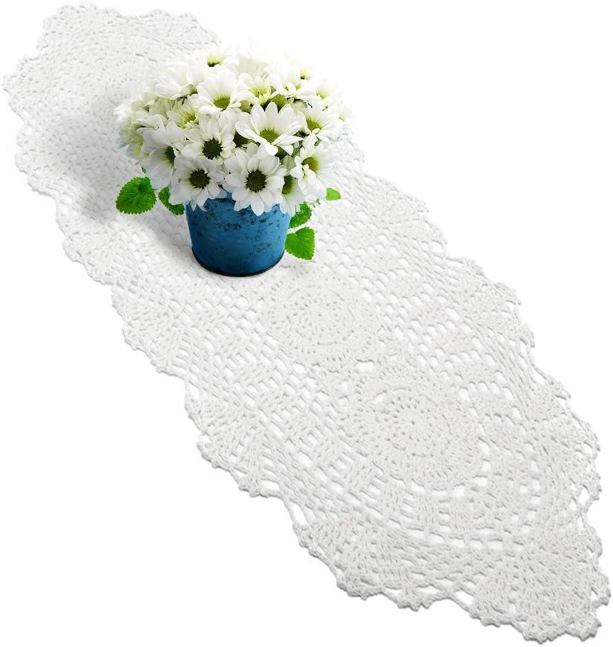 Inexpensive yazi Handmade Crochet Lace Raleigh Mall Rectangular Color White Runner Table