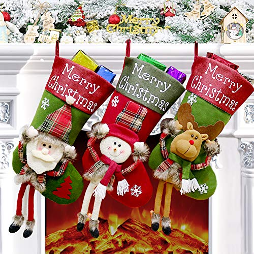 Calcetín Navidad 3 Pcs, Medias de Navidad Grande Bolsa de Regalo Calcetines...