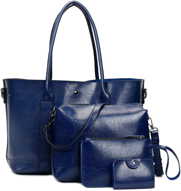 NZZNB Women's Bag Large Capacity Soft Leather Handbag Solid color Simple Retro Shoulder Bag Satchel Tote Purse Card Package 4Pcs Top-Handle Handbags