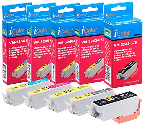 iColor Alternative Patrone: Tintenpatronen ColorPack Kompatibel mit epson drucker (ersetzt T3357 / 33XL), BK/PBK/C/M/Y