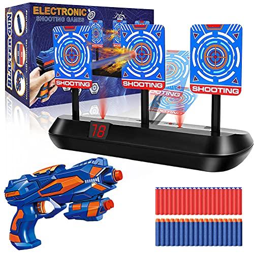 Objetivo de Tiro Electrónico, Nerf Diana Digital con 1 Pistola de Juguete, 40 Dardos de Espuma/Flechas, Rebote Automático & Puntuación & Sonido, Juego de Disparos Chicos, Regalo Niños de 4-12
