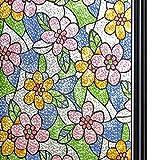 Qualsen Película para Ventana Privacidad Vinilo de Ventana Película para Vidrio Decorativa del Película de Ventana Autoadhesiva Vinilo para Vidrio Anti-UV (90cm x 200cm, Las Flores)
