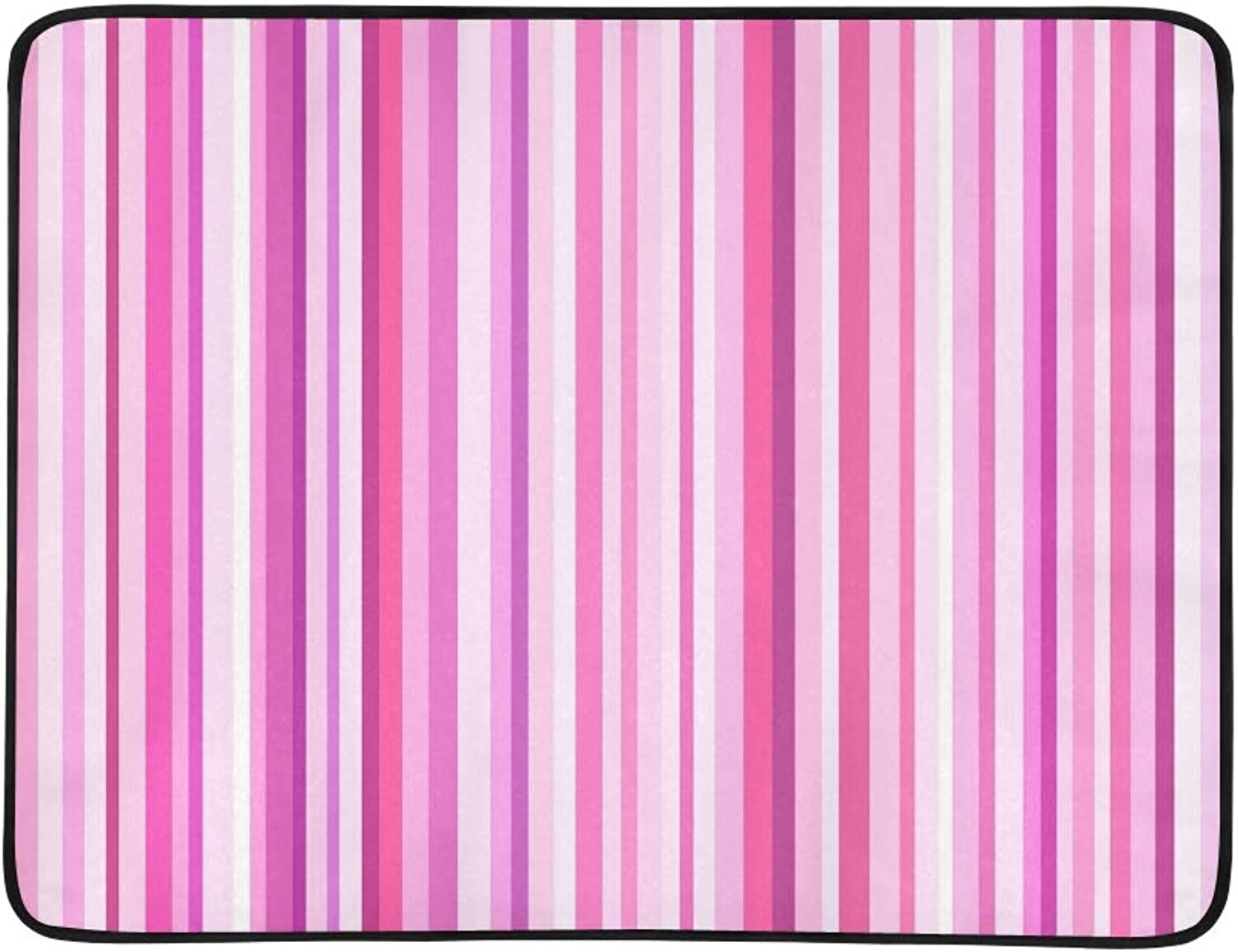 Pink Striped On Cover Fabric Portable and Foldable Blanket Mat 60x78 Inch Handy Mat for Camping Picnic Beach Indoor Outdoor Travel
