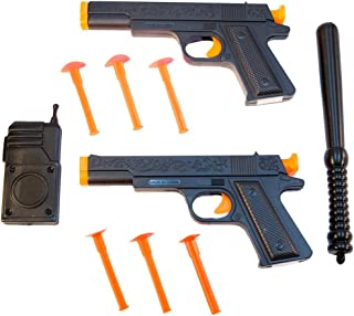 TukTek Kids First Set of 2 Police Squad Toy Pistol Suction Cup Gun Shooters w/ Walky-talky Radio for Boys & Girls