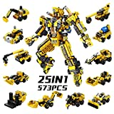 SYOSIN Construcción Robot Juguete Ingeniería Building Blocks 25-en-1 573 Piezas Conjunto Creativo, Vehículos de Construcción Juguetes Regalos para 5 6 7 8 9 10 años Niños y Niñas