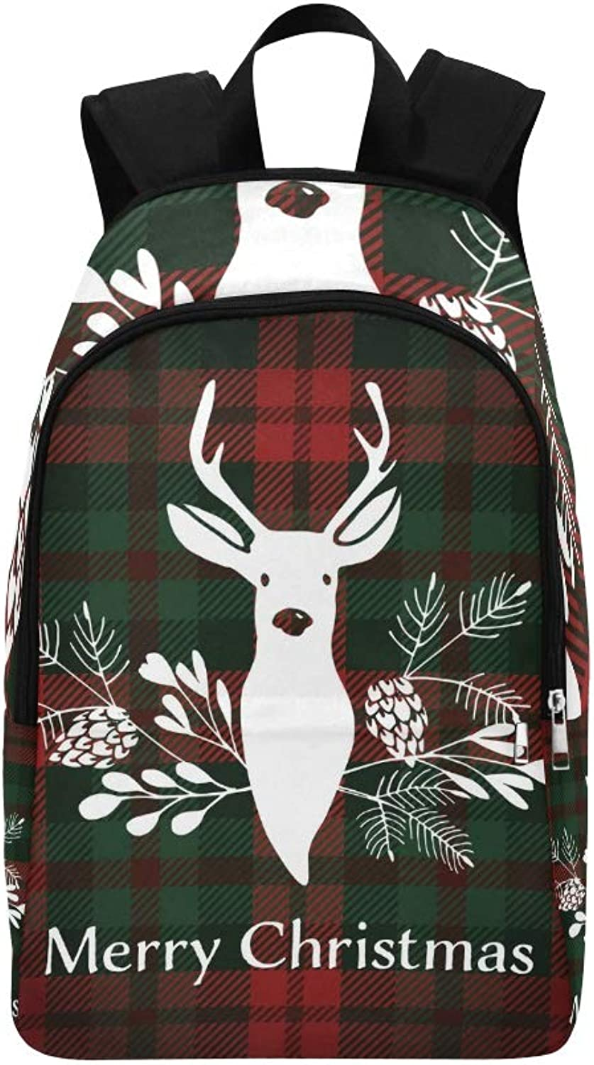 Merry Christmas Greeting Card Invitation Reindeer Casual Daypack Travel Bag College School Backpack for Mens and Women