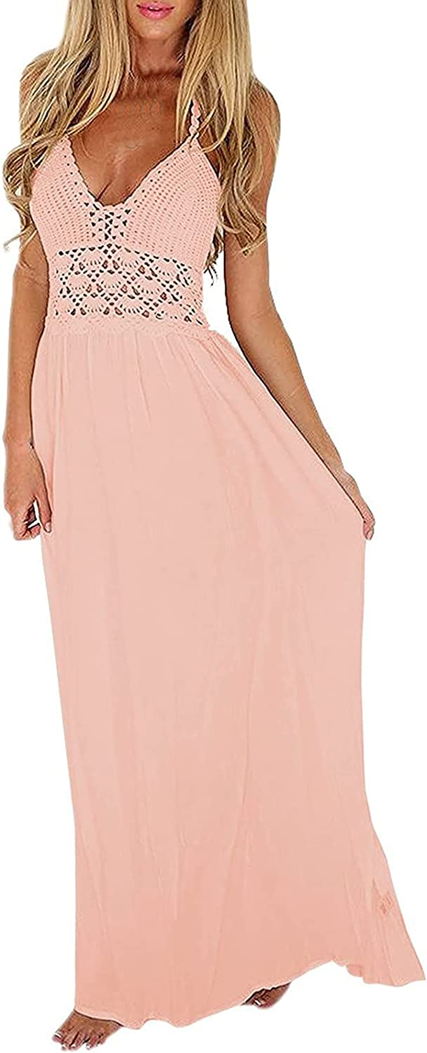 Women Skirts Mid Length Outfits,Women's Sexy Solid Dress Hollow Out Knitting Halter Sleeveless V-Neck Long Dress(L,Pink)