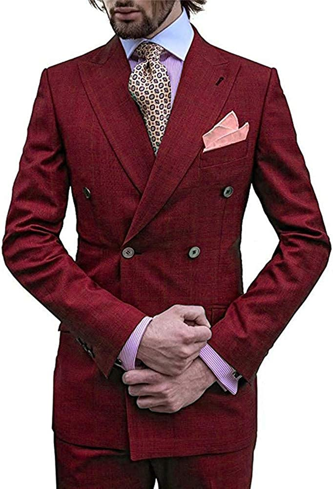 Double Breasted Men Suits 2 PCs (Jacket+Pants) Slim Fit Blazer Wedding Prom Grooms Tuxedo Plus Size
