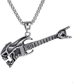 PROSTEEL Collier Homme Guitare//M/édiator Cha/îne 3mm R/églable avec Pendentif Personnalisable Bijou Musical en Acier//Plaqu/é Or//Noir Cadeau Anniversaire No/ël F/ête des P/ères