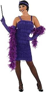 Womens 20s Purple Flapper Girl Costume Fringed Decades Dress