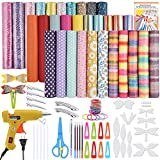 PP OPOUNT 31 Pieces Various Styles Faux Leather Sheet Making Kit, Hair Bows Making Kit Include Instructions, Hair Bows Templates, Hot Glue Gun, Metal Hair Clips for DIY Crafts (6.3 x 8.3 inch)
