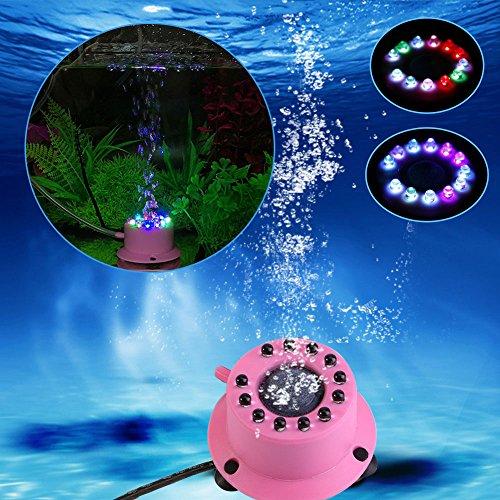 Vetrineinrete® Luce da acquario 12 led rgb multicolore mini lampada con pietra porosa per bolle d'aria colorate impermeabile luci per decorazione acquari C7