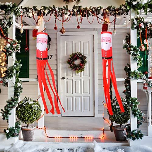 Tatuo 2 Stücke Weihnachten Windsack Weihnachtsmann Windsack Outdoor Hängende Windsäcke Winter Dekorative Stoff Wind Socke für Baumschmuck Vorgarten Veranda Terrasse Rasen Garten Party