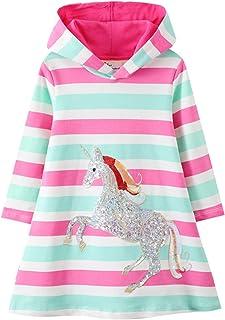 Girls Hooded Dress Winter Warm Fleece Long Sleeve Cotton Casual Hood Kangaroo Pocket Sweatshirt Dress 2-12 Years