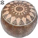 Pouf One aus echtem Leder Orientalisch Gefüllt Hellbraun Ø 49 cm | Vintage marokkanischer Hocker...