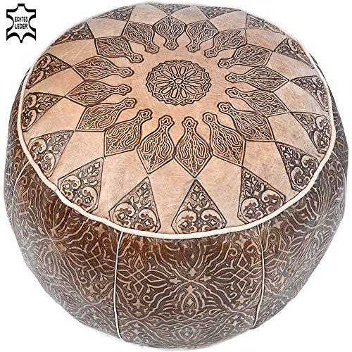 Pouf One aus echtem Leder Orientalisch Gefüllt Hellbraun Ø 49 cm | Vintage marokkanischer Hocker Sitzhocker Fußhocker Sitzpouf Sitzpuff Fußstütze | Ledersitzkissen Kissen aus Marokko